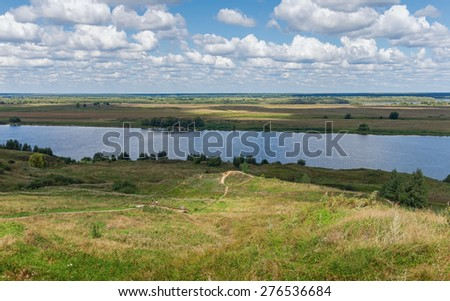 The bank of Oka River. Central Russia, Ryazan region - stock photo