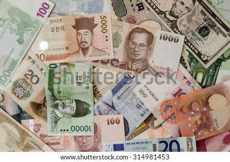 The Banknotes in many different currency.