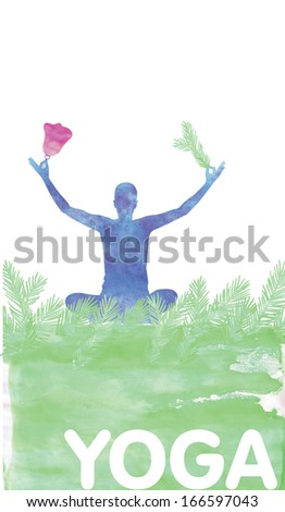 The banner yoga is paint with watercolors for Christmas and New year