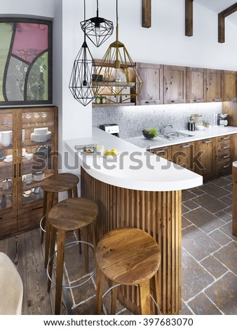 The bar counter in the kitchen loft style. The wooden bar with a white marble top and three wooden chairs. 3D render. - stock photo
