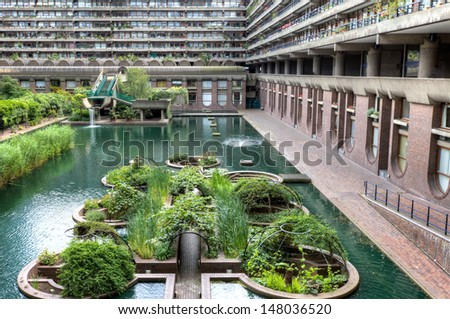 The Barbican Center in London is one of the most popular and famous examples of Brutalist architecture in the world. - stock photo