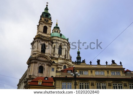 The Baroque Church of Saint Nicholas in the Lesser Town of Prague.