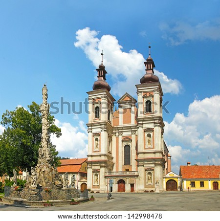 The Baroque Church of the Visitation of Virgin Mary and plague Column, small town Lomnice of Moravia. Czech Republic