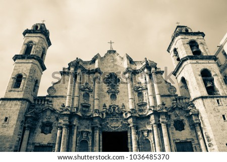 The baroque facade of the colonial Virgin Mary of the Immaculate Conception cathedral of Havana