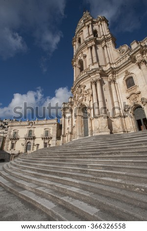The baroque Saint George cathedral of Modica in the province of Ragusa, Sicily, Italy, Europe