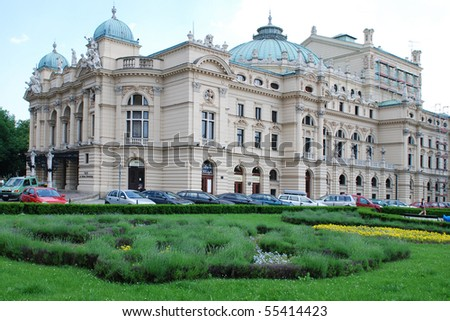 The baroque style theater built in 1892 in Cracow, Poland and continues to feature regular performances of plays and operas, named after the great Romantic playwright Juliusz Slowacki. - stock photo