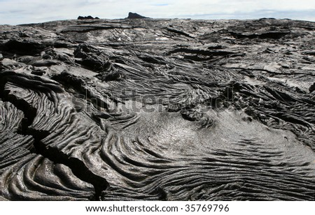 The barren lava fields of the Galapagos Islands - stock photo