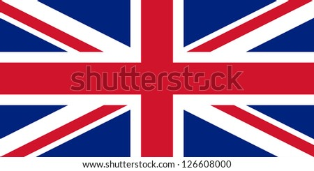 The basic design of the current United Kingdom flag. Proper ratio (2:1) and colours (RGB 207,20,43 - 255,255,255 - 0,36,125). Adopted January 1, 1801. - stock photo