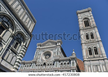 The basilica and the bell tower in Florence - stock photo