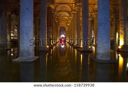 The Basilica Cistern Istanbul Turkey - stock photo