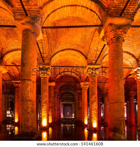 """The Basilica Cistern (""""Sunken Palace"""", or """"Sunken Cistern""""), is the largest of several hundred ancient cisterns that lie beneath the city of Istanbul (formerly Constantinople), Turkey. - stock photo"""