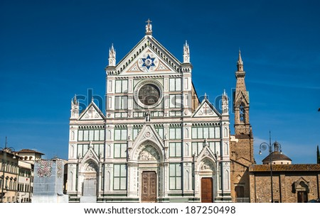 The Basilica di Santa Croce (Basilica of the Holy Cross) - famous Franciscan church on Florence, Italy
