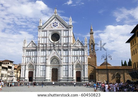 The Basilica di Santa Croce (Basilica of the Holy Cross) - famous Franciscan church on Florence, Italy - stock photo