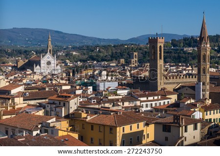 The Basilica di Santa Croce (Basilica of the Holy Cross) is the principal Franciscan church. Palazzo del Bargello and Badia Fiorentina. Aerial view from Giotto's Campanile. Florence, Tuscany, Italy. - stock photo
