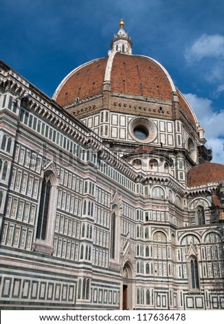 The Basilica di Santa Maria del Fiore (Basilica of Saint Mary of the Flower) is the main church of Florence, Italy.  The basilica is one of Italy's largest churches. - stock photo