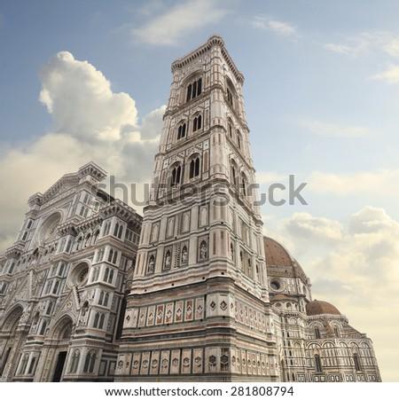 The Basilica di Santa Maria del Fiore or Duomo and Campanile in Florence, Italy - stock photo