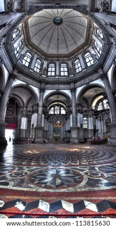 The Basilica di Santa Maria della Salute Interior in Venice, Italy - stock photo