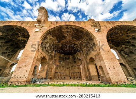The Basilica of Maxentius and Constantine at the Roman Forum in Rome, Italy