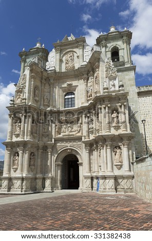 The Basilica of Our Lady of Solitude is a Roman Catholic church located in Oaxaca de Juarez. It was built between 1682 - 1690. Its current Baroque facade dates from 1718. - stock photo