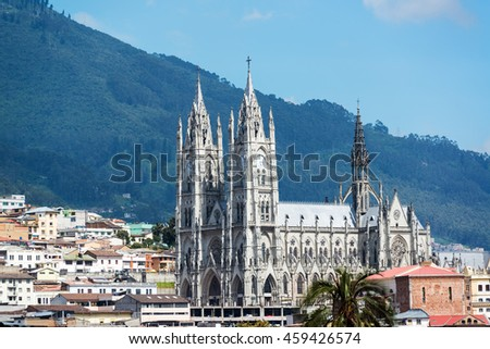 The Basilica of Quito, Ecuador towering above the historic old town  - stock photo