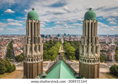 The Basilica of Sacred Heart in Brussels , Belgium - stock photo