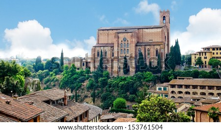 The Basilica of San Domenico, also known as Basilica Cateriniana. Siena, Italy - stock photo