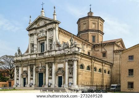 The basilica of Santa Maria in Porto (16th century), with a rich facade
