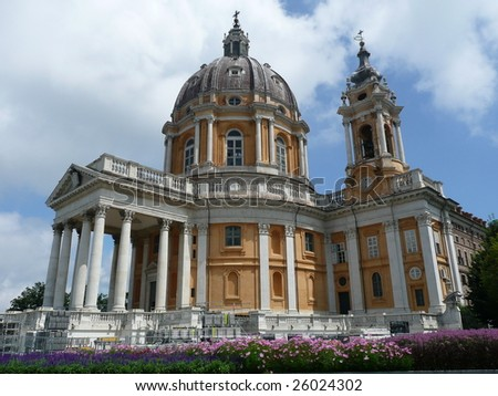 The basilica of Superga, where the famous plane crash of Turin Football Club happened, in 1949 - stock photo