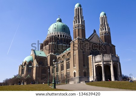 The Basilica of the Sacred Heart in Brussels. - stock photo