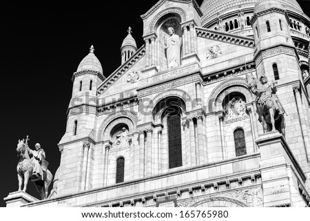The Basilica of the Sacred Heart of Jesus (Basilique du Sacre-Coeur) on Montmartre hill, Paris