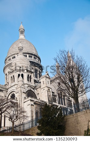 The Basilica of the Sacred Heart of Jesus on Montmartre in Paris, France.