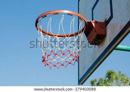 The Basketball Net In Outdoor Sport Court.