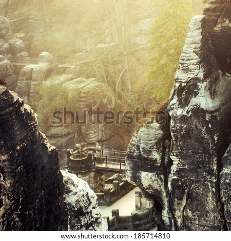the bastei in the elbe sandstone mountains / germany - stock photo