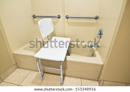 bathing chair helps disabled handicap use stock photo royalty free