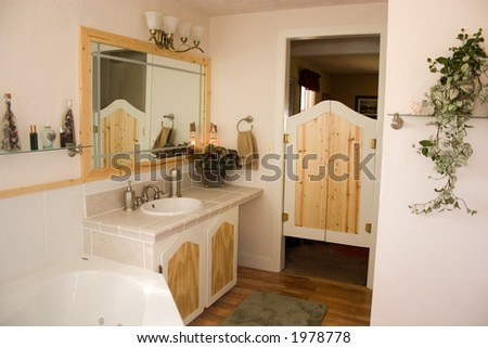 The bathroom of a recently remodeled home - stock photo