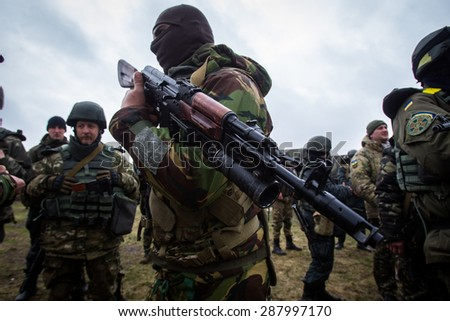 "The battalion ""Donbas"" conducting exercises at Mariupol 01.04.2015. Ukraine. Mariupol"