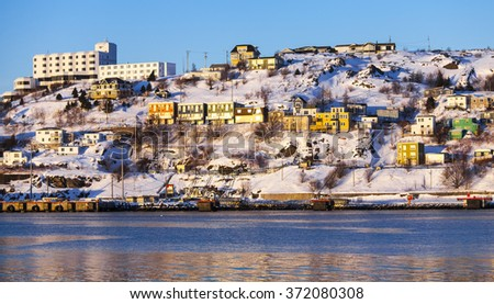 The Battery on a cold winter day in St. John's, Newfoundland and Labrador, Canada. - stock photo