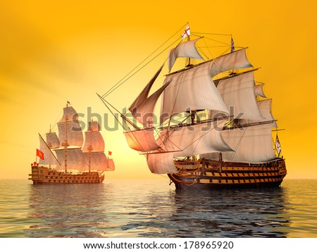 The Battle of Trafalgar Computer generated 3D illustration - stock photo