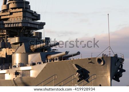 the battleship texas in houston port - stock photo