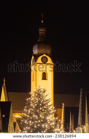 The bavarian city Schwandorf at christmas time - stock photo