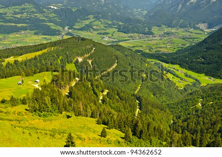 The Bavarian Village at the Foot of the Alps - stock photo