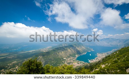 The Bay of Kotor and Adriatic sea wide angle landscape. Montenegro - stock photo