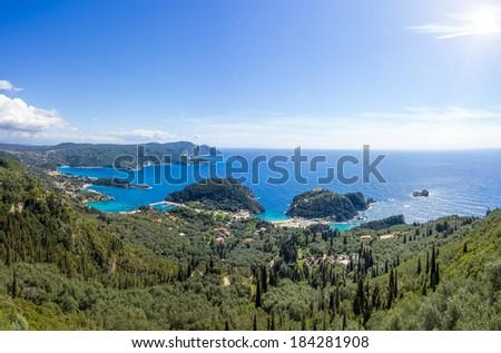 The bay of Paleokastritsa in Corfu Greece - stock photo