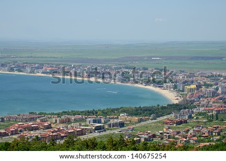 The bay of Sunny beach resort, Bulgaria - stock photo