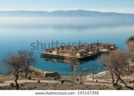 The Bay of the Bones, the reconstructed site of a prehistoric settlement at Lake Ohrid, Republic of Macedonia (FYROM) - stock photo