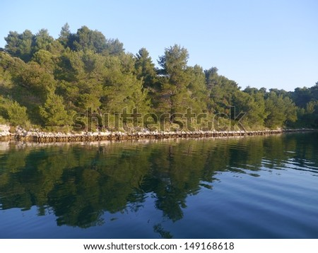 The bay of the Croatian village Polace at the island Mljet in the Adriatic sea of Croatia