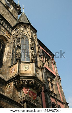 The bay window on the tower Old Town Hall in Prague - stock photo