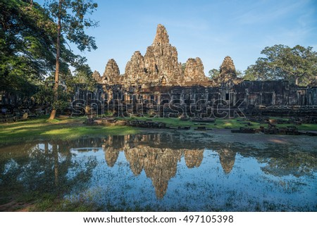 The Bayon is a well-known and richly decorated Khmer temple at Angkor in Cambodia. Built in the late 12th or early 13th century as the official state temple of the King Jayavarman VII.