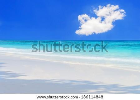 The beach and blue sky - stock photo