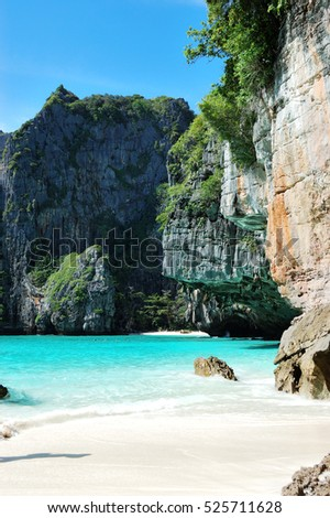 The beach and turquoise water of Indian Ocean, Phi Phi island, Thailand